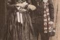 Starý svadobný kroj, mladí z Lúčna – Litvajoví. Parta, lipiťka -kabátik, čižmy s tvrdou sárou, čierna zástera, svadobné pierko mal ženích. 30 roky 20.storočia